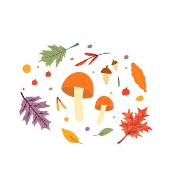 Pakiet jesiennych modnych ikon. opadające liście dębu, klonu, jagód i grzybów. notatnik kolekcja elementów sezonu jesiennego. płaska naturalna ilustracja wektorowa z kwiatowym do reklamy, promocji