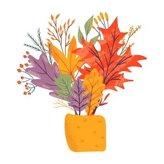 Pakiet jesiennych modnych ikon. opadające liście dębu, klonu, jagód i grzybów. notatnik kolekcja elementów sezonu jesiennego. płaska naturalna ilustracja wektorowa z kwiatowym na reklamę