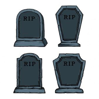 Pakiet kamiennych grobów na halloween. łatwe dodawanie nazwy i daty martwej