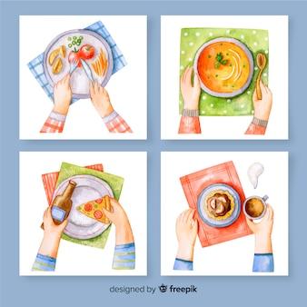 Pakiet kart mączki z akwareli
