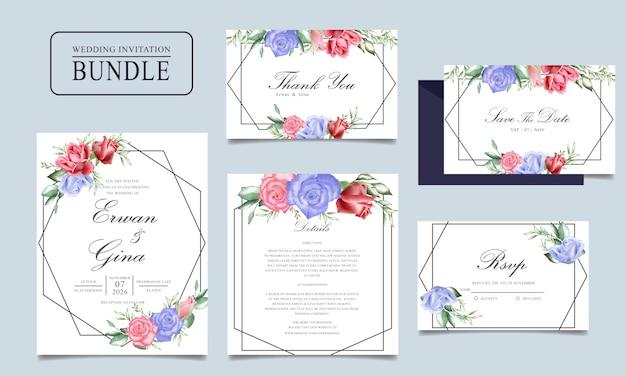 Pakiet kart zaproszenie na ślub z akwarela kwiatowy i pozostawia szablon