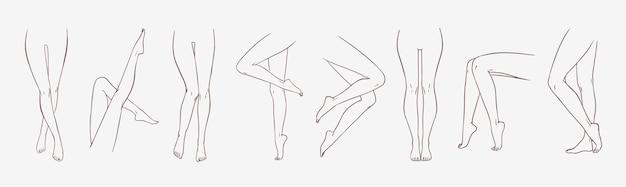 Pakiet kobiecych nóg w różnych pozach lub pozycjach ręcznie narysowanych liniami konturowymi