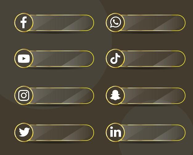 Pakiet kolekcji etykiet szklanych ikon mediów społecznościowych