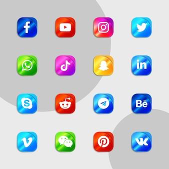 Pakiet kolekcji gradientowych ikon mediów społecznościowych