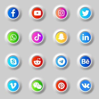 Pakiet kolekcji ikon i logo w mediach społecznościowych