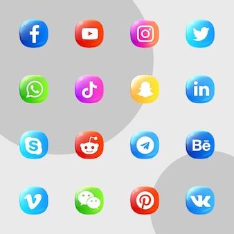 Pakiet kolekcji ikon mediów społecznościowych 3d