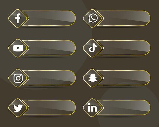 Pakiet kolekcji ikon w mediach społecznościowych ze złotymi szklanymi etykietami