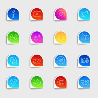 Pakiet kolekcji płaskich ikon mediów społecznościowych