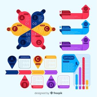 Pakiet kolorowych elementów infographic