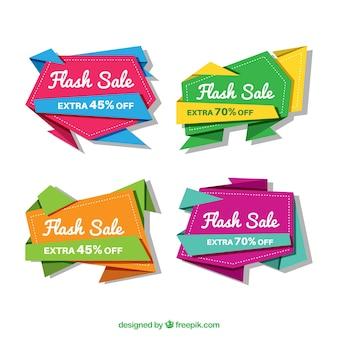 Pakiet kolorowych transparentów sprzedaży origami