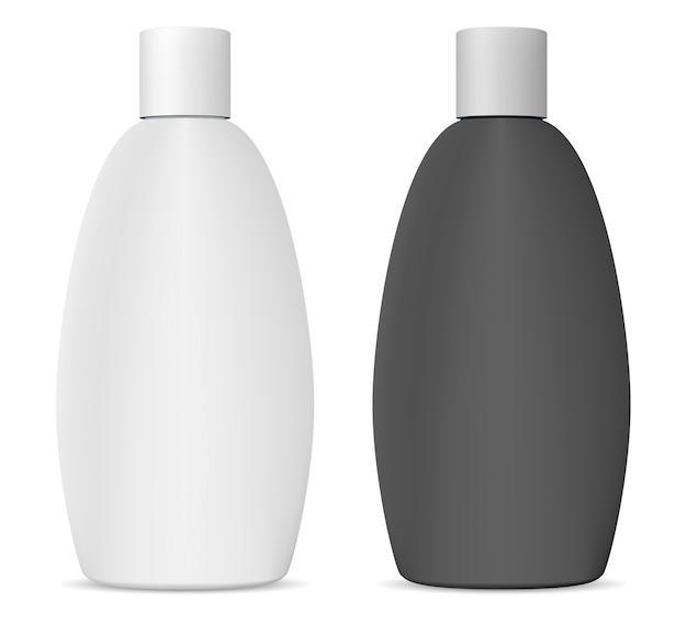 Pakiet kosmetyczny szamponu. czarno-biała butelka