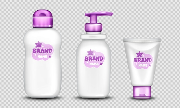 Pakiet kosmetyków dla niemowląt ładny design realistyczny