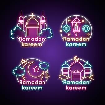 Pakiet kreatywnych neon znak ramadan