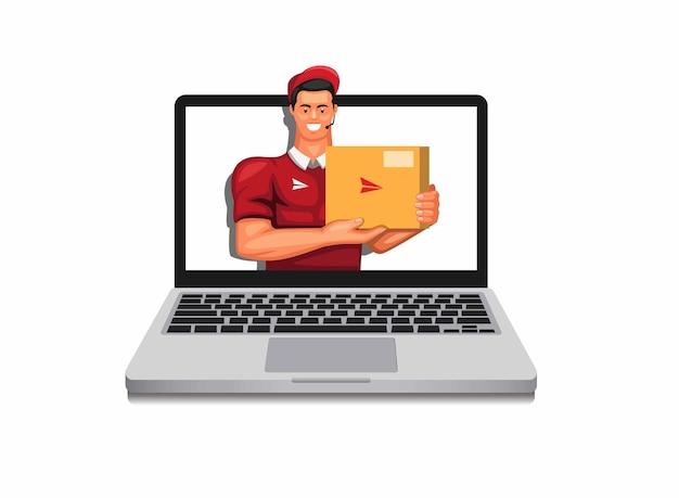 Pakiet kurierski z laptopa koncepcja symbolu usługi dostawy zakupów online