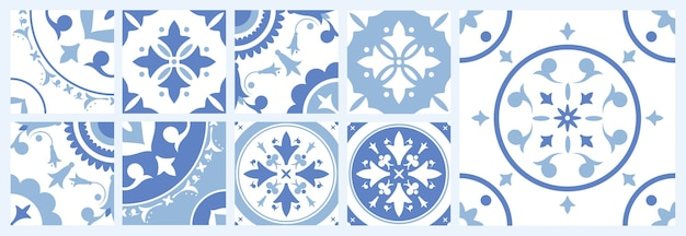 Pakiet kwadratowych płytek ceramicznych z różnymi tradycyjnymi wzorami orientalnymi