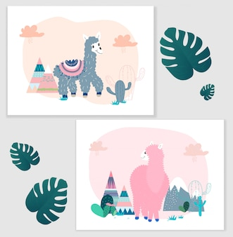 Pakiet lamy i kaktusa clipart, zestaw graficzny lamy bez dramatu.