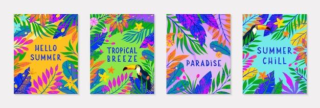 Pakiet letniej ilustracji wektorowych z jasnymi tropikalnymi liśćmikwiaty i tukanwielokolorowe rośliny