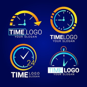 Pakiet logo czasu gradientu