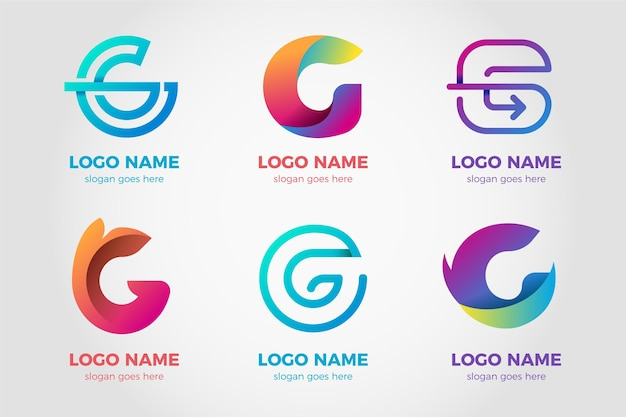 Pakiet logo gradientu litery g