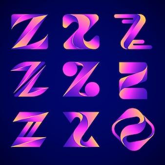 Pakiet logo gradientu litery z.
