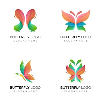 Pakiet logo kolorowy motyl streszczenie