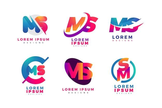 Pakiet logo ms w kolorze gradientu