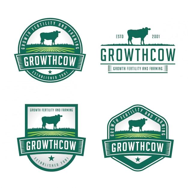 Pakiet logo odznaki krowy