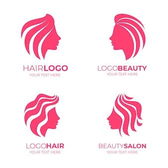Pakiet logo salonu fryzjerskiego z płaską ręką