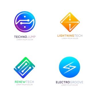 Pakiet logo z gradientową elektroniką