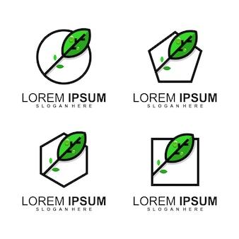Pakiet logo z liśćmi