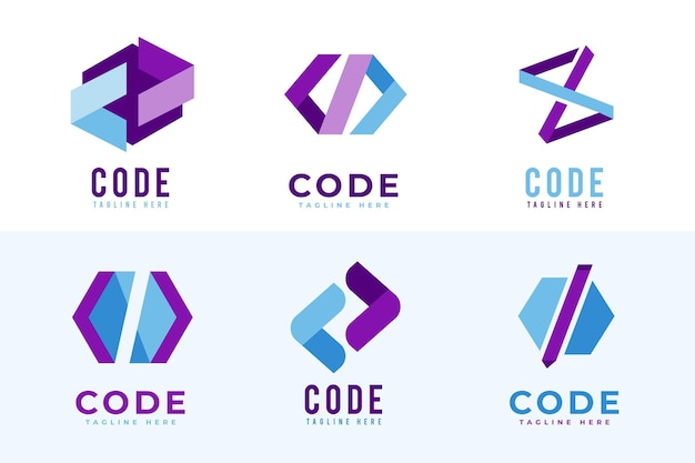 Pakiet logo z płaskim kodem