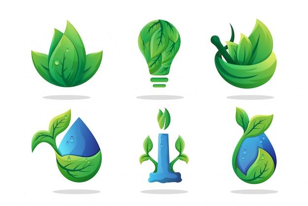 Pakiet logo z zielonym liściem