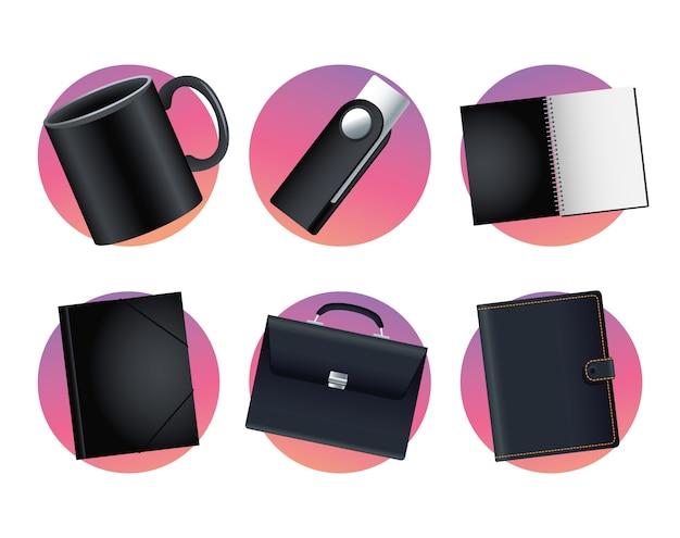 Pakiet makieta zestaw ikon w projekt ilustracji wektorowych białe tło