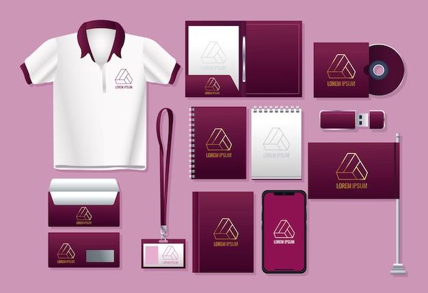 Pakiet marki zestaw ikon na różowym tle ilustracji