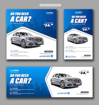 Pakiet mediów społecznościowych wypożyczalni samochodów