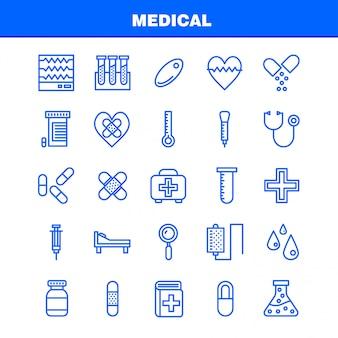 Pakiet medyczny linia ikona dla projektantów i programistów.