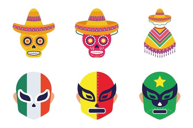 Pakiet meksykańskich zestaw ikon