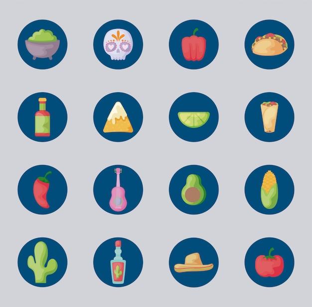 Pakiet meksykańskie jedzenie z ustawionymi ikonami