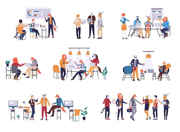 Pakiet mężczyzn i kobiet biorących udział w spotkaniu biznesowym, burzy mózgów, rozmawiających ze sobą.