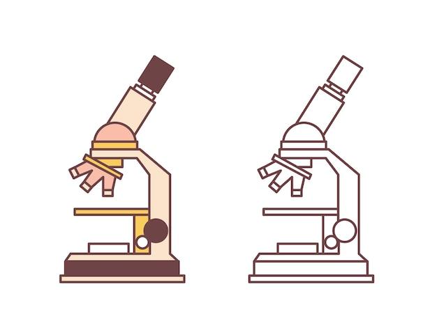 Pakiet mikroskopów na białym tle. instrument naukowy, sprzęt laboratoryjny do mikroskopii, narzędzie badawcze laboratorium medycznego. ilustracja wektorowa kolorowe i monochromatyczne w stylu sztuki linii.