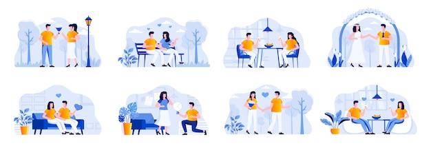 Pakiet miłości para z postaciami ludzi. para spacerująca w parku, romantyczna randka w restauracji, mężczyzna proponujący dziewczynę do ślubu, sytuacje na ślubie. ilustracja płaski romantyczny związek