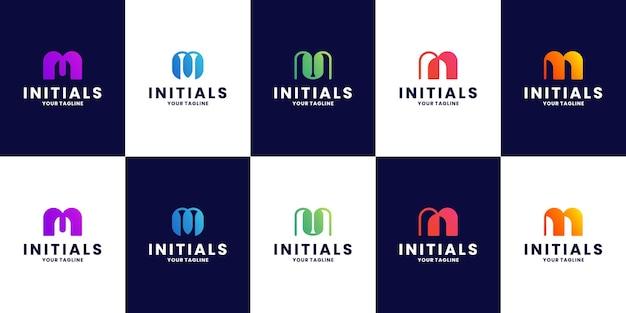 Pakiet minimalistyczny projekt logo litery m inicjał
