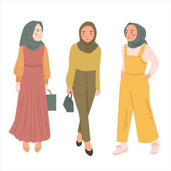 Pakiet modnych kobiet noszących hidżab. współczesny młody muzułmanin