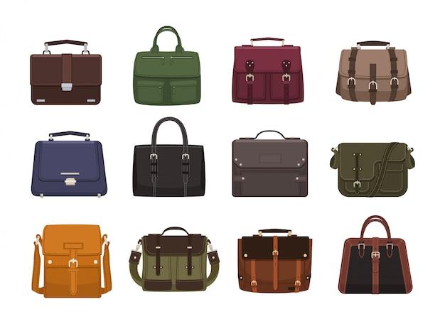 Pakiet modnych męskich torebek - body, plecak, torba kurierska, walizka. nowoczesne akcesoria skórzane różnych typów na białym tle. kolorowa ilustracja.