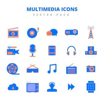Pakiet multimedialny ikon wektorowych