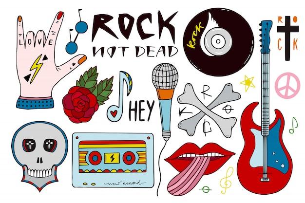 Pakiet muzyki rockowej. ręcznie rysowane naklejki muzyczne