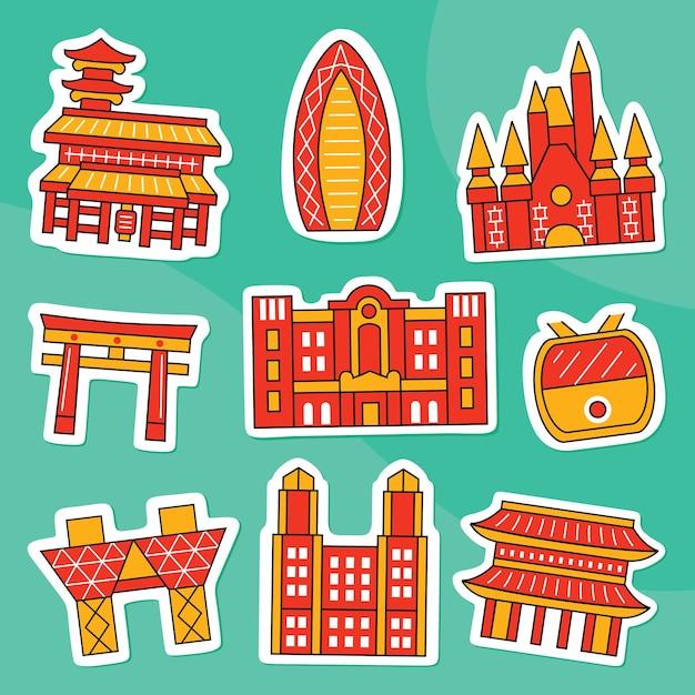 Pakiet naklejek z miastem tokio w płaskim stylu