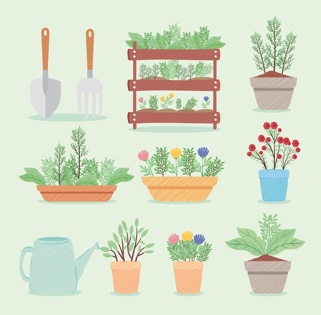 Pakiet narzędzi ogrodniczych i ilustracji roślin doniczkowych