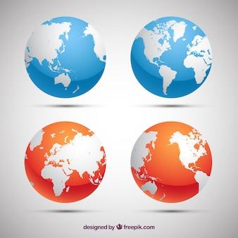 Pakiet niebieskich i pomarańczowych ziemskich globusów