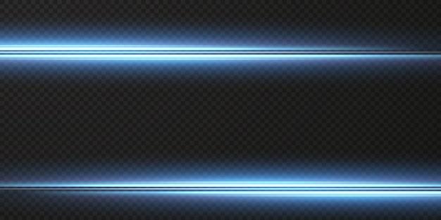 Pakiet niebieskich poziomych flar soczewkowych wiązki laserowe poziome promienie świetlne